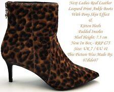 💙 siguiente Leopardo Animal Print 100% Cuero Real Pixie Botas al Tobillo Zapatos Taco Alto