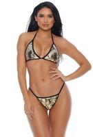 Forplay silver sequins scrunch butt bikini set