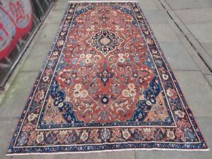 Vintage Worn Hand Made Traditional Oriental Wool Pink Long Rug Carpet 302x149cm