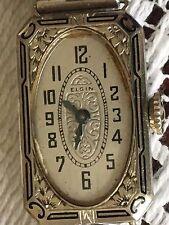 Antique Ladies 14K SOLID GOLD Floral ENAMEL Case Art Deco Wrist Watch RUNS WELL!