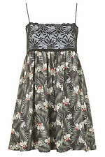 BNWT Topshop Tropical Print Lace Bandeau Slip Dress by Rare, Size 12 RRP £36