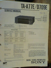 Amplificador Estéreo Sony TA-A77 TA-D709E Manual De Servicio Original