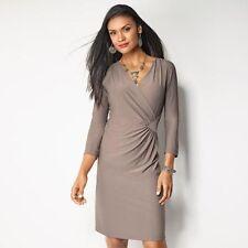 signature collection versatile faux knit wrap dress brown