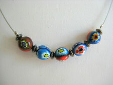ESTATE STERLING SILVER ENAMEL BEADS NECKLACE FLOWERS DELICATE CONTEMPORARY ITALY