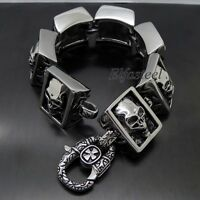 MEN'S Huge Heavy Skull 316L Stainless Steel Biker Square Link Bracelet 8.5""