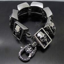 """MEN'S Huge Heavy Skull 316L Stainless Steel Biker Square Link Bracelet 8.5"""""""