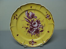 UNUSUAL 19th C. FRENCH FAIENCE ART POTTERY PLATE , YELLOW with DARK PLUM FLOWERS