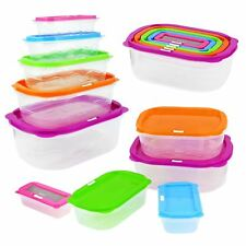 10pc Stackable Nesting Food Storage Containers Coloured Lid Plastic Lunch Boxes