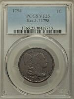 1794 1c  Head of 1795 - large cent PCGS VF25