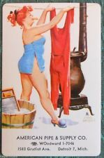 HILDA DRIES RED LONG JOHNS-BRYERS PIN UP AD-AMERICAN PIPE-VTG SWAP PLAYING CARD
