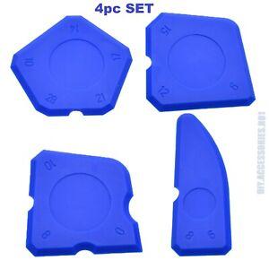 4pc set A Blue Silicone Sealant Spreader Finish Kit Tool Caulk Tile Fugi Applica