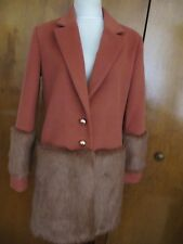 Anthropologie Keepsake Womens Orange Faux Fur Trimmed Tailored Boho Coat M NWT