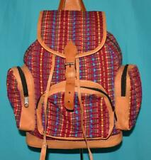 GENUINE Woven Cotton British Tan Leather HULPIL Backpack Sling Pocket Purse Bag