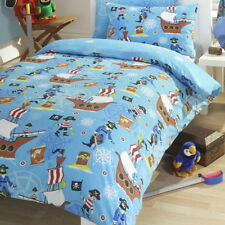 Pirate Ships Treasure Blue Aqua Boy Kids Single Duvet Cover Quilt Bedding Set