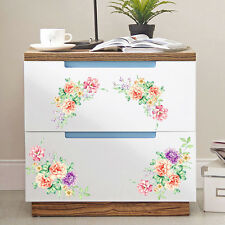 1 Pair Peony Flowers Wall Stickers PVC Removable Refrigerator Wardrobe Decals