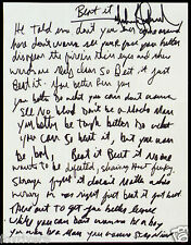 MICHAEL JACKSON Handwritten Signed Lyrics 'Beat It' 2 pages - preprint