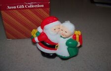 Vintage New Avon Santa Mrs. Claus Exchanging Gifts Christmas Double Wick Candle