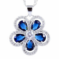 Sarotta Jewelry Pear Cut Blue Sapphire 18K White Gp CZ Pendant Necklace Chain