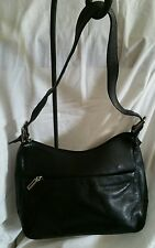 St John's Bay Leather Shoulder Bag Black sz Medium Adjustable Strap In New...