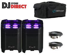2X ADJ ELEMENT HexIP Powerful Rechargeable RGBAW UV Outdoor HEX + Bag & 2x6M DMX