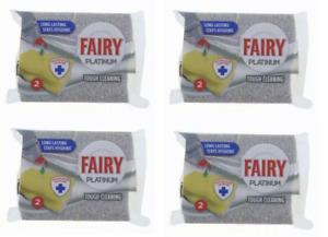 4 x 2 Pack Fairy Platinum Scourer Sponge Hygienic Long Lasting - 8 Total - UK