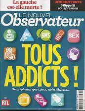 LE NOUVEL OBSERVATEUR N° 2591--TOUS ADDICTS SMARTPHONES-SPORT-JEUX-SERIES TV-SEX