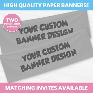 Custom Personalised Birthday Party Banner - Children Party Banners x 2