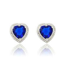 Shiny Ocean Blue Cubic Zircon Love Heart Stud Statement Earrings Fashion Jewelry
