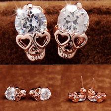Mujeres Tono Oro Rosa Cristal Diamante Calavera Perforado Pendientes De Presión