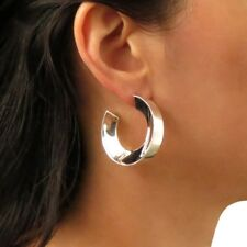 Wide Hoops 925 Sterling Silver Circle Earrings Gift Boxed