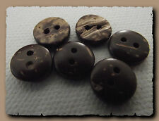 12 BOUTONS Marron veiné beige * 10 mm *  2 trous * 1 cm * brown button mercerie