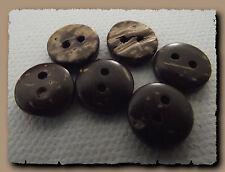 12 BOUTONS Marron veiné beige * 10 mm *  2 trous * 1 cm * brown button mercerie