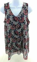 Espresso Womens Sleeveless V Neck Navy Blue Floral Top Casual Shirt Size Small