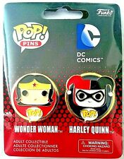 Funko POP Pins Collectible Wonder Woman & Harley Quinn 1.25in. New 2 Pc. Set