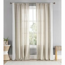 """Duck River Thirza Silk Stripe Curtain Panel Pair 78x96"""" Taupe-White Pole Top"""