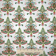 Christmas Fabric - Dena Designs Merry Mistletoe Tree White - Free Spirit YARD