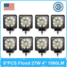 8PCS 27W 4'' LED Work Light Flood Bulbs Off road fits Jeep 4WD UTE Square Lamp