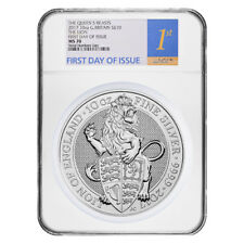 2017 Great Britain 10 oz Silver Queen's Beast (Lion) Coin NGC MS 70 FDOI