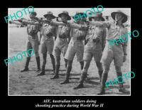 OLD POSTCARD SIZE PHOTO OF AUSTRALIAN ARMY SOLDIERS IN SHOOTING PRACTICE WWII
