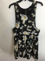 Women's Wet Seal Dress Size XL   Black With White & Yellow Flowers