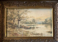Turn Of The Century Watercolor Painting Antique Original Frame Signed EMB