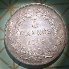 LOUIS PHILIPPE 5 FRANCS 1845 W SUP /SPL  beau patine état RARE !