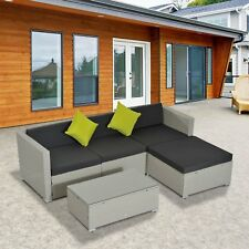 5pc Rattan Sofa Set W/ Tea Table Pillows Cushioned Wicker Sectional Outdoor Grey