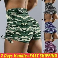 Women's Camouflage High Waist Yoga Shorts Push Up Hot Pants Fitness Gym Workout
