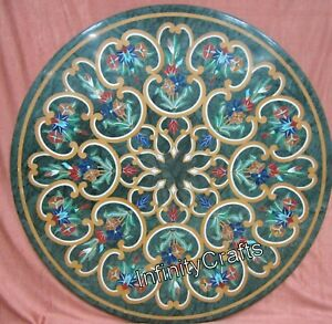 30 Inches Green Dining Table Top Round Shape Office table Inlay with Vintage Art