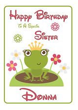 frog princess Personalised A5 Birthday Card daughter sister granddaughter name