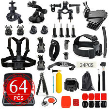 64PCS Pack Accessories Case Head Chest Monopod Surf Mount for GoPro Hero 5 4 3+