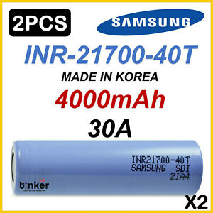 2x Samsung 40T INR 21700 4000mAh 35Amp Lithium Li-Ion rechargeable batteries