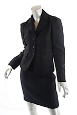 PRADA Black Wool Flannel Twill Skirt SUIT Shaped Fitted Jacket   40 US 4