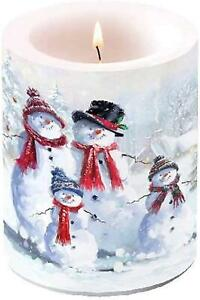 """Large Round Traditional Christmas Winter Hats Snowman Family Wax Candle Party 5"""""""